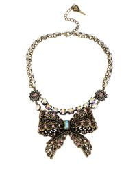 Betsey Johnson | Pink Crystallized Vintage Bow Tworow Necklace | Lyst