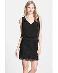 Laundry by Shelli Segal | Black Lace & Jersey Blouson Dress | Lyst
