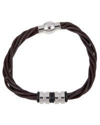 John Lewis - Brown Multi Strand Leather & Steel Bracelet - Lyst