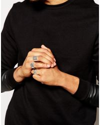 ASOS - Metallic Ring Pack With Geo-Tribal Circle And Signet for Men - Lyst