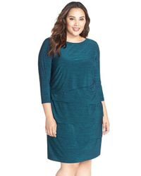 Tahari | Blue Tiered Sheath Dress | Lyst