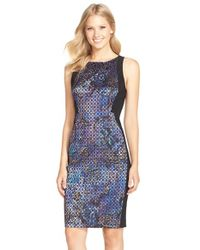 Adrianna Papell - Blue Cotton Blend Sheath Dress - Lyst