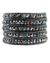 Chan Luu | Purple Compressed Turquoise Mix Wrap Bracelet On Gunmetal Leather | Lyst
