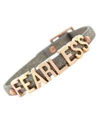 "BCBGeneration - Gray Rose Gold-Tone Platinum Glitter Pvc ""Fearless"" Mini Affirmation Bracelet - Lyst"