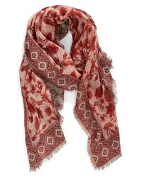 Hinge - Red 'frontier Floral' Jacquard Scarf - Lyst