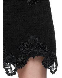 Thakoon - Black Lace Appliqué Wool Bouclé Skirt - Lyst