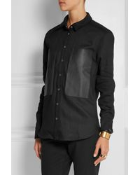 IRO - Blue Claudie Leather-Paneled Woven Cotton Shirt - Lyst