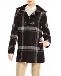 Cinzia Rocca | Black Plaid Hooded Toggle Coat | Lyst