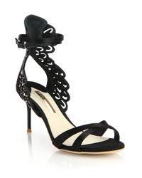 Sophia Webster | Black Micah Angel Wing Embellished Satin Sandals | Lyst