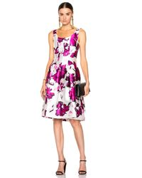 Oscar de la Renta | Pink Pleated Floral-print Silk Dress | Lyst