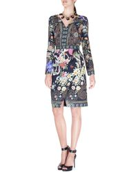 Etro - Black Fitted Split-neck Wrap-skirt Dress - Lyst