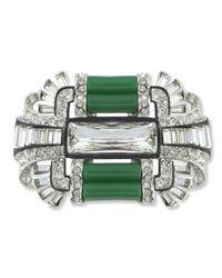 Kenneth Jay Lane | Green Jade Art Deco Brooch | Lyst