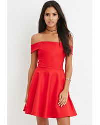 Forever 21 - Red Off-the-shoulder Fit & Flare Dress - Lyst