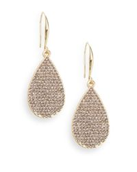 Saks Fifth Avenue | Metallic Pavã© Teardop Earrings/black Diamond | Lyst
