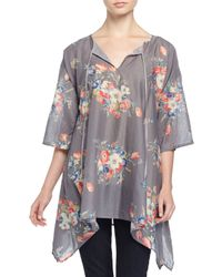 Johnny Was - Gray Mona Tie-neck Floral-print Tunic - Lyst
