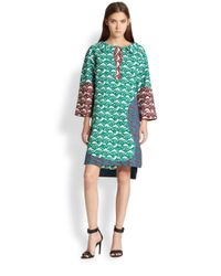 Tsumori Chisato | Shell Mixed Print Paneled Cotton Dress | Lyst