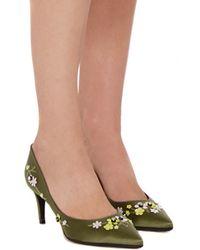 Giambattista Valli - Green Satin Floral Embelished Pumps - Lyst