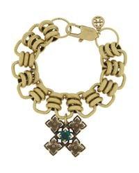 Tory Burch Metallic Abella Goldtone Crystal Cross Bracelet