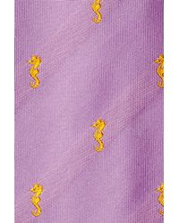 Etro - Yellow Embroidered Silk Tie - Purple for Men - Lyst