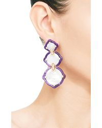 Nicholas Varney - Purple Mother Of Pearl Sugalite and Diamond Gold Earrings - Lyst