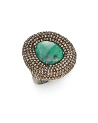 Bavna - Green Emerald, Champagne Diamond & Sterling Silver Statement Ring - Lyst