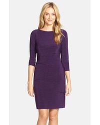 Tahari - Purple Melange Knit Jersey Sheath - Lyst
