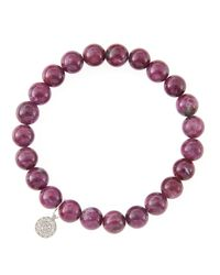 Sydney Evan | Pink 8Mm Natural Ruby Beaded Bracelet With 14K White Gold/Diamond Small Disc Charm (Made To Order) | Lyst