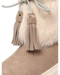 Tory Burch | Natural Anjelica Suede & Lapin Fur Boots | Lyst