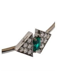 Nikos Koulis - Metallic Diamond, Emerald & White-Gold Bangle - Lyst