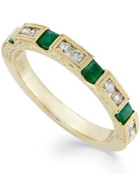 Macy's | Green 14k Gold Emerald (1/3 Ct. T.w.) And Diamond (1/3 Ct. T.w.) Alternating Ring | Lyst