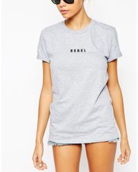 Adolescent Clothing | Gray Boyfriend T-shirt With Rebel Print | Lyst