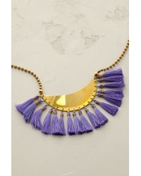 Anthropologie - Blue Crescent Tassel Necklace - Lyst