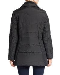 Anne Klein | Black Faux Fur-trimmed Quilted Coat | Lyst