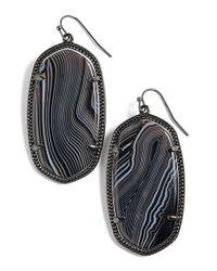 Kendra Scott - Gray 'danielle' Drop Earrings - Gunmetal/ Black Banded Agate - Lyst