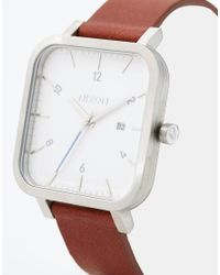 Nixon - Metallic Ragnar Square Leather Strap Watch A939 for Men - Lyst