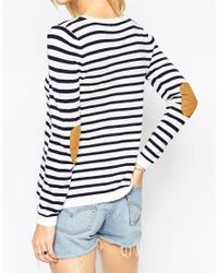 ASOS - Black Tall Jumper In Stripe With Tan Suede Star Elbow Patches - Lyst