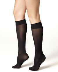 Wolford   Gray Velvet De Luxe 50 Denier Knee-high Socks   Lyst