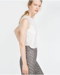 Zara | White Jacquard Pattern Top | Lyst