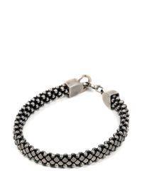 Laura B - Metallic Silver Pleated Brass & Leather Bracelet - Lyst