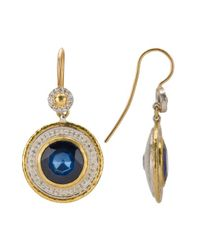 Gurhan | Metallic Startle Silver Layered With 24k Gold, 0.43ct Diamonds, And Blue Doublet Earrings | Lyst