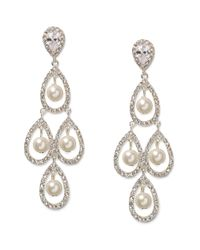 Lauren by Ralph Lauren | White Silvertone Glass Pearl and Pave Teardrop Chandelier Earrings | Lyst