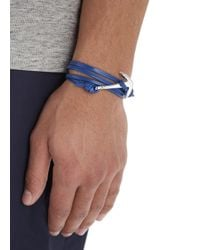 Miansai | Blue Double Wrap Leather Anchor Bracelet for Men | Lyst