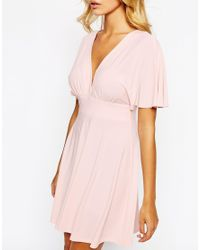 Love | Pink Plunge Skater Dress With Kimono Sleeve | Lyst