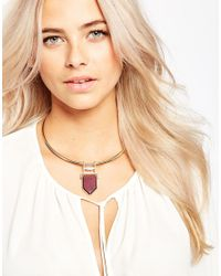 Oasis - Metallic Articulated Stone Torque Necklace - Lyst