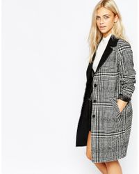 Oasis | Gray Asis Check Coat | Lyst