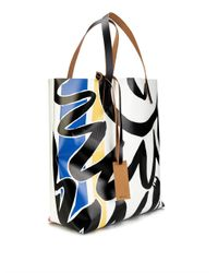 Marni | Blue Abstract-Print Pvc And Leather Tote for Men | Lyst