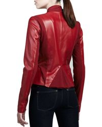 Bagatelle - Black Drape-front Leather Jacket - Lyst