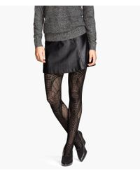 H&M - Black Lace-Patterned Tights - Lyst