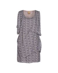Ichi | Blue Short Dress | Lyst