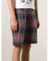Iceberg - Red Plaid Shorts for Men - Lyst
